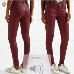 Frame Atilier Burgundy Leather Pants